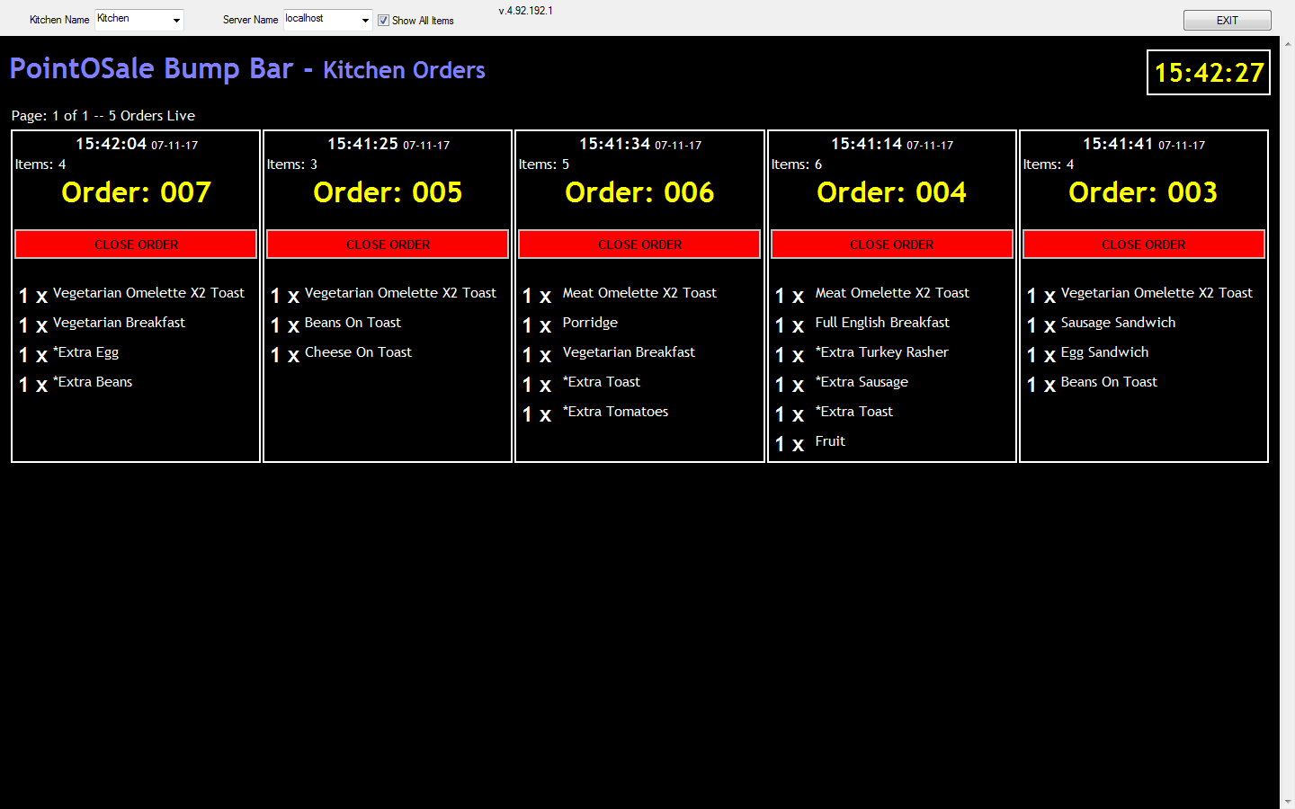 Kitchen Bump bar software, View kitchen or other orders on a tou