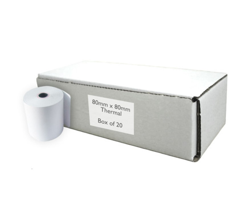 High grade thermal paper rolls 80x80 20 rolls is 58GSM 12mm core