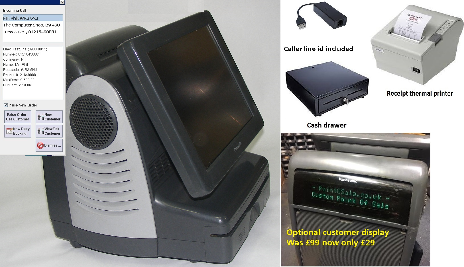 12.1 Epos systems printer caller line id postcode & distance